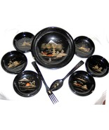 Vintage Japanese Black Lacquer Ware Salad Serving Set - $40.00