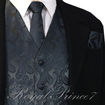 CHARCOAL GRAY XS - 6XL Paisley Tuxedo Suit Dress Vest Waistcoat & Neck t... - $22.98