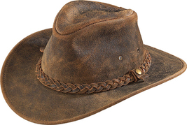 Henschel Distressed Full Grain Leather Outback Hat Tabs Made In USA Rust... - $90.00