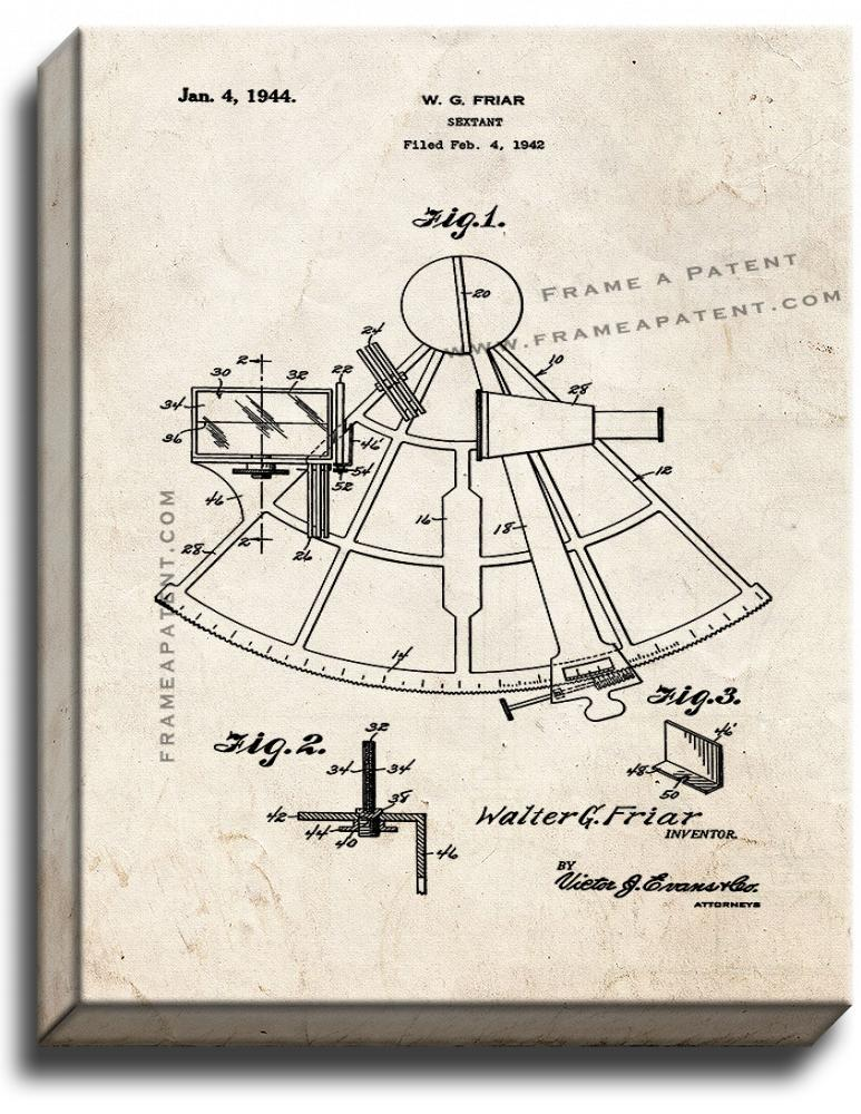 Primary image for Sextant Patent Print Old Look on Canvas