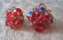 Vintage pink and white crystal Signed Laguna earrings gorgeous   - $20.00