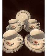 Vintage Stoneware Cumberland Brambleberry 3 Cups 5 Saucers Blue Trim (8P... - $32.95