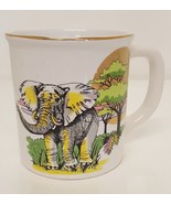 African Elephant Picture Coffee Cup Mug Gold Trim Speckle Colorful Jungl... - $34.64