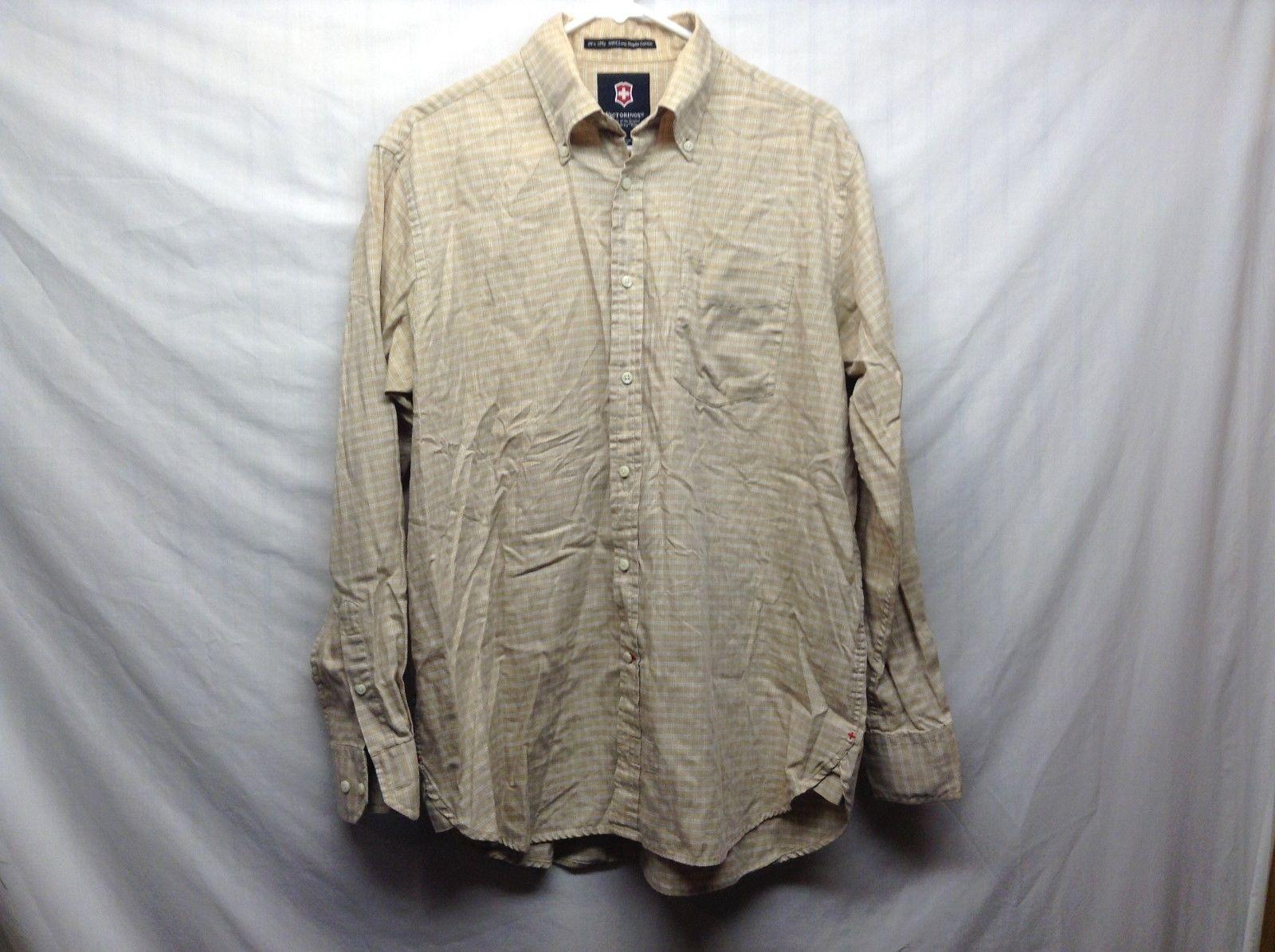 Men's Beige Long Sleeve Button Up Shirt by Victorinox Sz M