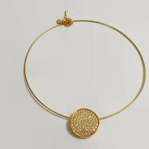 Vintage Nolan Miller Pave Rhinestone Slide Gold Tone Omega Necklace  - $75.66