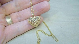 14K Yellow Gold Etched Puffed Heart Necklace w Chain - $130.49