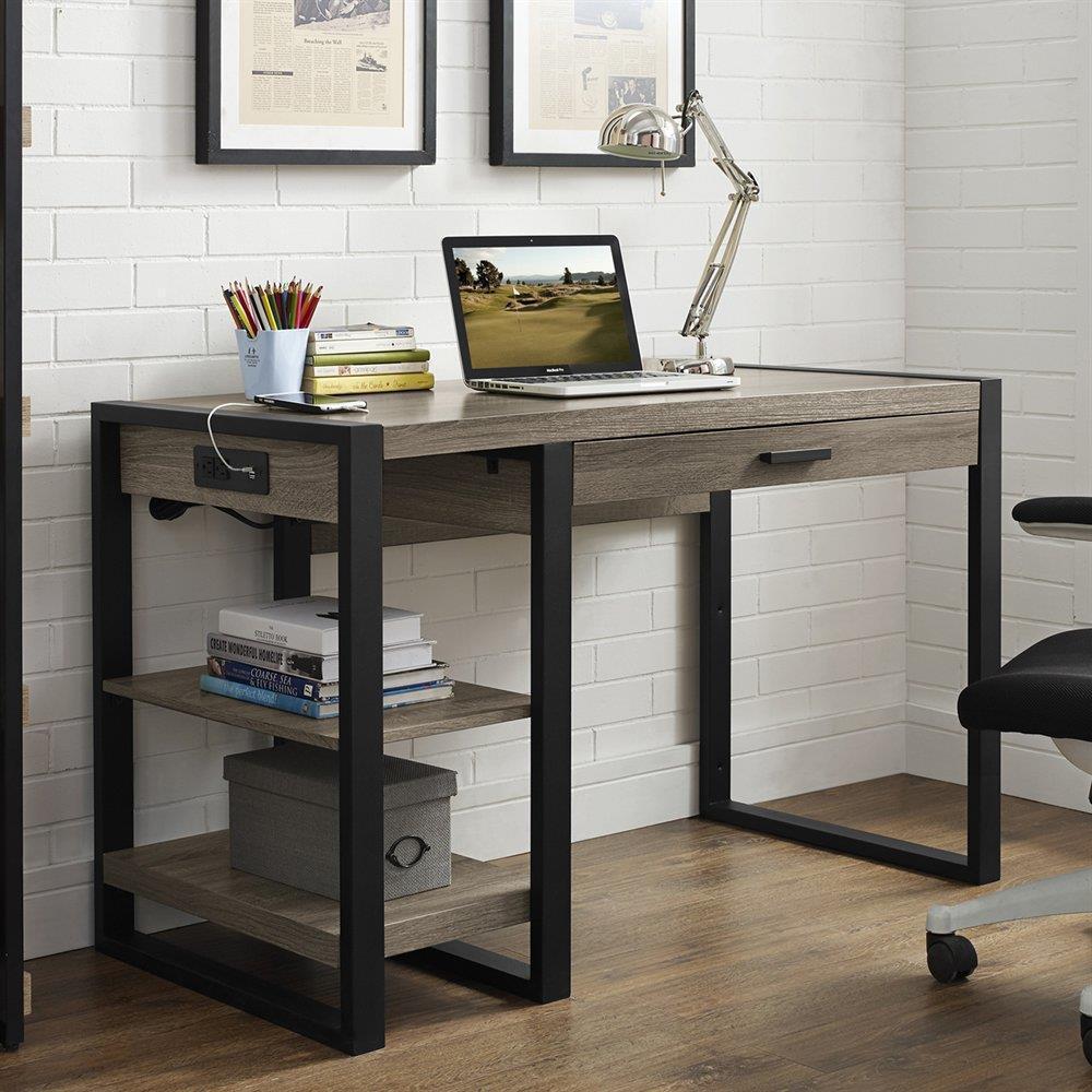Modern Weathered Grey Gray Writing Computer Desk Storage