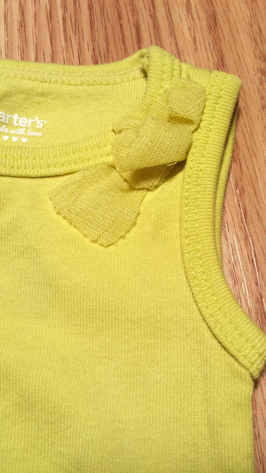 Girl's Size NB Newborn Two Piece Green Carter's Tank Top W/ Bow & Plaid Skirt