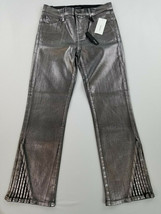 new J BRAND women jeans Foiled Chrome mid-rise skinny crop 26 silver MSR... - $58.99