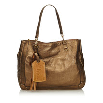 Pre-Loved Chloe Brown Bronze Others Leather Metallic Eden Tote Bag France - $377.74