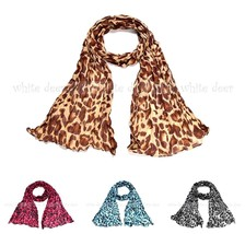 Big Leopard Cheetah Animal Print Wrinkle Scarf Wrap See Through Light We... - $5.45