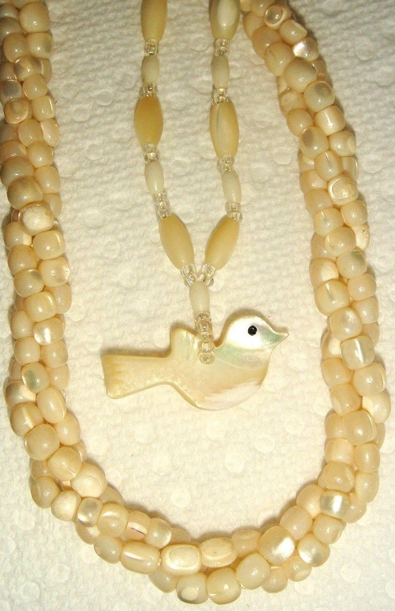 VTG GOLDEN MOTHER OF PEARL BEAD DOVE FETISH TWISTED TOURSADE NECKLACE LAYER SET
