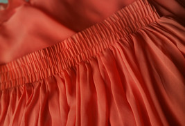 Plus Size Maxi Chiffon Skirt A-Line Chiffon Wedding Skirt Orange image 7