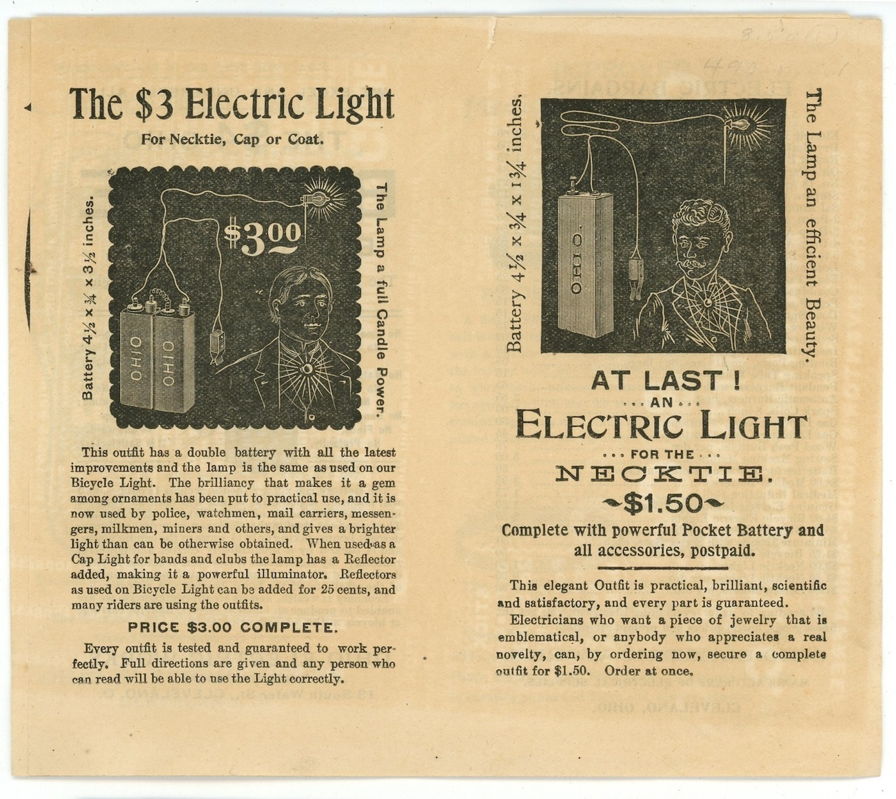 Ohio Electric Co early brochure 1890's Cleveland Ohio Edison ephemera vintage