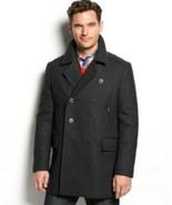 Alfani Mens Jacket Faux Leather Trim Wool Deep Black Size M L XXL MyAFC - $89.99