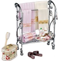 Dollhouse Filled Bathroom Rack 1.765/1 Reutter Accessories Towels Miniature  - $51.73