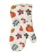 Autumn Leaves and Pumpkins Fall Harvest Kitchen Oven Mitt - $39.01 CAD