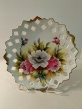 Vintage Norcrest Japan Reticulated Floral Hanging Plate Hand-painted Ori... - $14.36