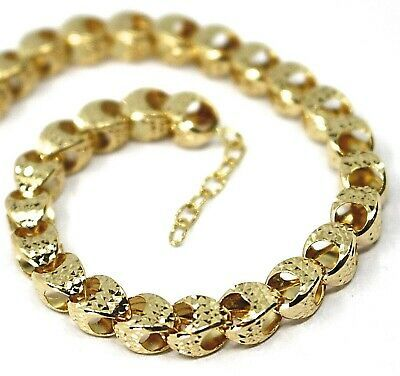 """18K YELLOW GOLD CHAIN, BIG ROUNDED DIAMOND CUT OVAL DROPS 6 MM, ROUNDED, 18"""""""