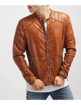 Men's Biker Vintage Motorcycle Slim fit Brown Distressed Leather Jacket - FL130 - $114.99