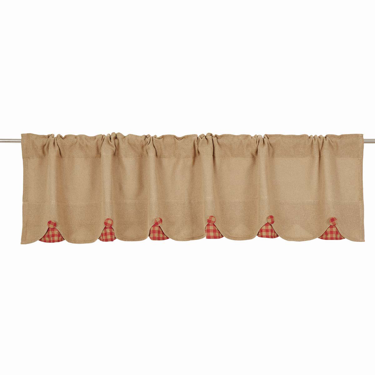 BURLAP NATURAL Valance w/Red Check - 16x72 - Country Farmhouse - VHC Brands