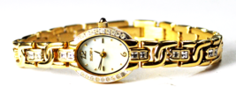 Women's Elgin Gold Tone MOP Dial Wristwatch EG125N 16mm CZ Bezel & Band - $19.79