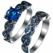 2 CT T.W. Sapphire Solitaire Twist Engagement Wedding Ring Set 14K Black Gold FN - $119.99