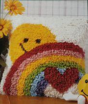 Natura Latch Hook Sunshine Rainbow Heart Valentine Pillow Kit 12x12 Started Tool - $12.99