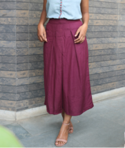 Custom Made Wine Color Pleated Linen Cropped Pants - $35.00