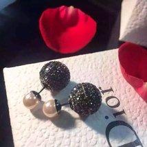 Authentic Christian Dior Mise En Dior Pink Black Crystal Pearl Tribal Earrings R image 2