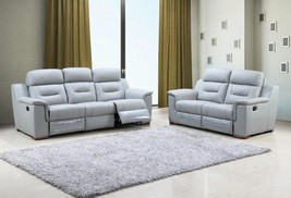 Global Furniture 9408 Contemporary Gray Leather Gel/Match Recliner Sofa ... - $1,888.00
