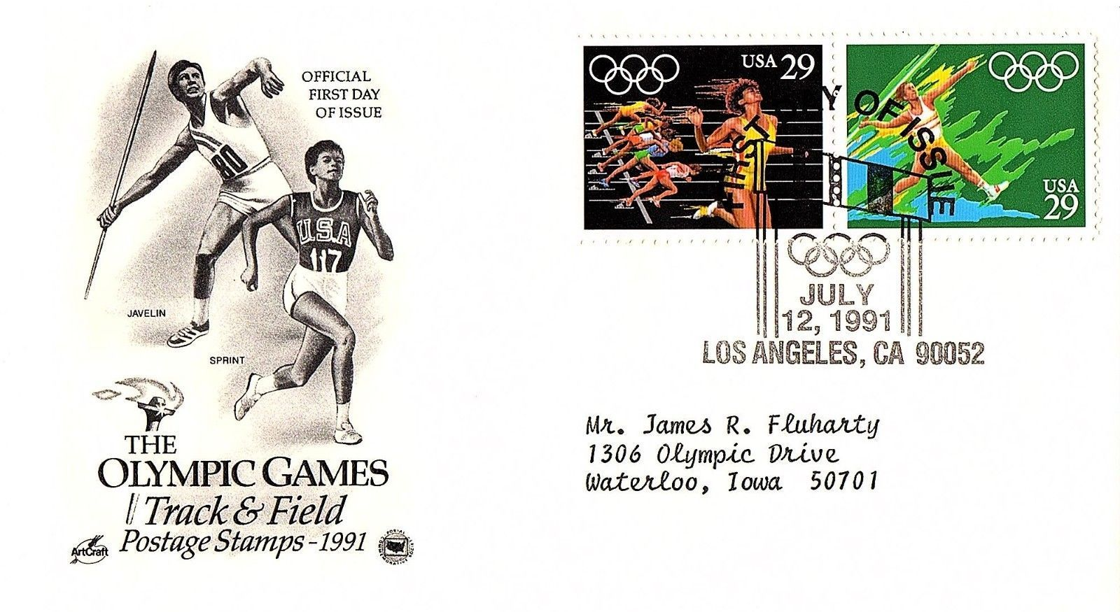 July 12, 1991 First Day of Issue, Postal Society Cover, Olympic Track & Field #2