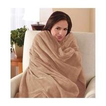Electric Throw Blanket Heated Microfiber Sherpa Beige Cover Machine Wash... - $78.71