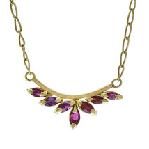 0.35 Carat Marquise Cut Ruby Vintage Necklace 18K Yellow Gold - $395.01