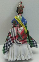 "Black Americana Doll Cloth & Straw Folk Art DOMINICA Handmade 9"" tall - $11.99"