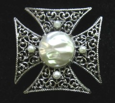 Vintage 1960's Maltese Cross Pin Brooch with Faux Pearls and Silver Tone... - $17.77