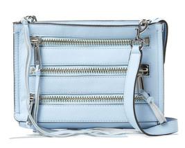 Rebecca Minkoff Moto Sky Blue Leather 3 Zip Crossbody Bag NWT - $123.26