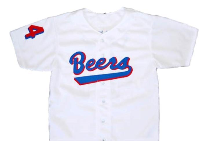 Joe coop cooper  44 baseketball beers button down baseball jersey white 1