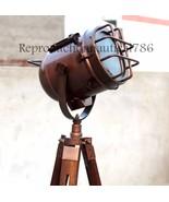Vintage Copper Antique Floor Lamp With Wooden Tripod E 27 Searchlight De... - $98.39