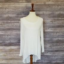 New HEART HIPS sz L women's white long sleeves hi-lo hem tunic top (UA99) - $12.00