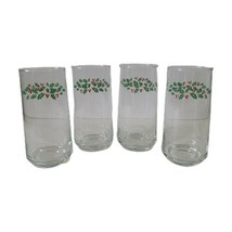 4 Corelle Coordinates Winter Holly Beverage Glasses Tumblers 16 oz Christmas  - $24.74