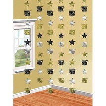 Happy New Years Eve 6 Doorway Foil Star String Decoration Black Gold Silver - $5.17