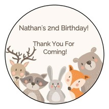 """12 Personalized Woodland Animals Birthday Party Stickers Favors Labels 2.5"""" - $8.99"""