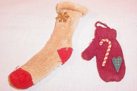 VINTAGE HAND KNIT STOCKING & MITTEN CHRISTMAS TREE ORNAMENTS - $25.73