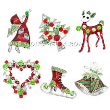Christmas Brooch Pin Wreath Deer Tree Angel Bells Skates Crystal Holiday... - $5.95