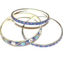 """BR494 Blue & Silver 20mm Flowered Aluminum 3 Bangle Bracelet Set 2.75"""" Inside  - $7.33"""