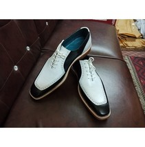 Handmade Men's White & Black Dress/Formal Lace Up Leather Shoes image 1