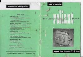 1950 KODAK RELIANT MOVIE CAMERA INSTRUCTION MANUAL -with f/2.7 CINE EKTA... - $4.89