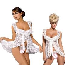 Solid Ruffle Flirty Sweetheart Babydoll Dress Set Hot Erotic Lingerie image 3
