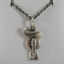 Collar de Plata 925 Pulido con Colgante Soporte para Caballo Made IN Italy - $112.31